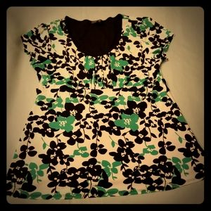 Babydoll Green & Black Floral Top by Style & Co